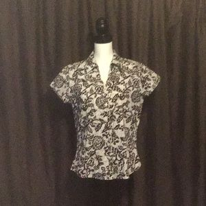 Coldwater Creek Brown & White Blouse Sz M